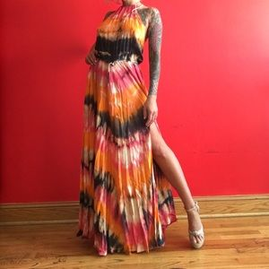 Blue Life Orange Tie-dye maxi skirt dress XS